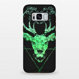 Galaxy S8 plus  Dark Forest Deer by  (deer, forest, elk, nature, animals, collage, illusion, tree, bird, eco, environment, flowers, earth, green, stag, highland, horns, dark, bush, branch)