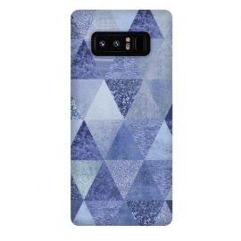 Galaxy Note 8  Blue Glitter Triangle Pattern by Andrea Haase