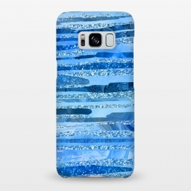 Galaxy S8+  Blue And Aqua Glitter Stripes by Andrea Haase