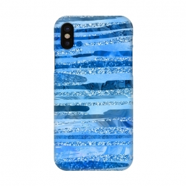 iPhone X  Blue And Aqua Glitter Stripes by Andrea Haase