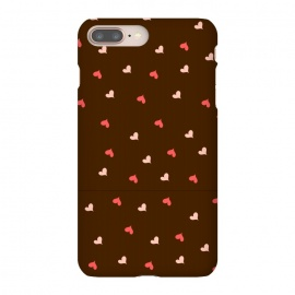 iPhone 8/7 plus  red hearts with brown background by MALLIKA