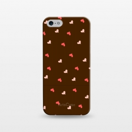 iPhone 5/5E/5s  red hearts with brown background by MALLIKA