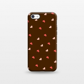 iPhone 5C  red hearts with brown background by MALLIKA