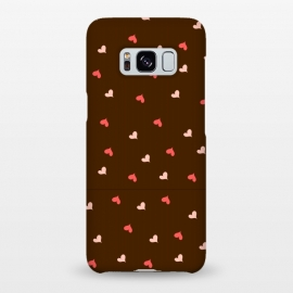Galaxy S8+  red hearts with brown background by MALLIKA