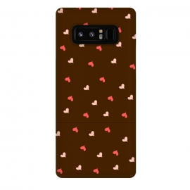 Galaxy Note 8  red hearts with brown background by
