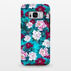 Galaxy S8+  Peonies by Riza Peker (peony,flowers,red,blue,color,illustration,pattern)