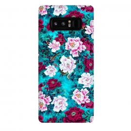 Galaxy Note 8  Peonies by Riza Peker (peony,flowers,red,blue,color,illustration,pattern)
