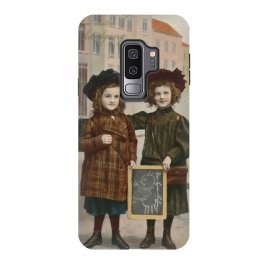 Galaxy S9 plus  Vintage School Girls by  (Vintage, Retro, Gift, old fashioned, Nostalgic, romantic, Nostalgia, Postcard, mail, children, kid, childhood, girl,School,Teacher,Together,Friends,Girlfriends,mate,back to school,brown)