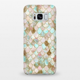 Galaxy S8+  Watercolor Wonky Gold Glitter Pastel Summer Mermaid Scales  by Utart