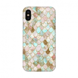 iPhone X  Watercolor Wonky Gold Glitter Pastel Summer Mermaid Scales  by Utart