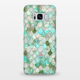 Galaxy S8+  Wonky Seafoam Watercolor Glitter Mermaid Scales by Utart