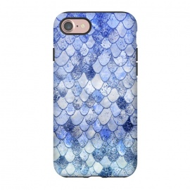 iPhone 8/7  Blue Summer Wonky Watercolor and Glitter Mermaid Scales by Utart