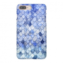 Blue Summer Wonky Watercolor and Glitter Mermaid Scales by Utart