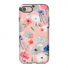 iPhone 8/7  Blush florals by MUKTA LATA BARUA (flowers, florals, blush, pastel, blooms, spring, summer, watercolor, painting)