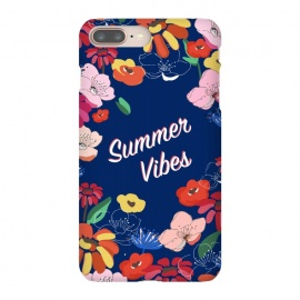 Summer Vibes 2 by MUKTA LATA BARUA (blooms, florals, pretty, vector, illustration, painted, spring, summer, beautiful, happy, vibes, typography,blue, navy,cheerful)