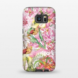Galaxy S7  Flower Jungle by Utart (tropical,  pink, summer, exotic, nature, illustration, tropic, wild, wildlife, pattern,  paradise, spring, beautiful, palm, beauty, floral, style, fashion, trendy, hawaii, miami, jungle, plant, holiday, elegant, colorful, feather, cartoon, garden, flower, natural,flowers,botanical,illustration)