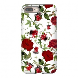 Red Hibiscus and Passiflora Pattern on White by Utart