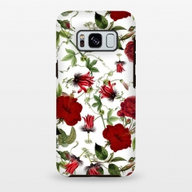 Galaxy S8+  Red Hibiscus and Passiflora Pattern on White by Utart