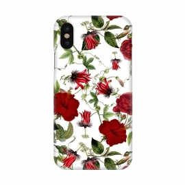 iPhone X  Red Hibiscus and Passiflora Pattern on White by Utart