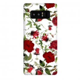 Galaxy Note 8  Red Hibiscus and Passiflora Pattern on White by Utart