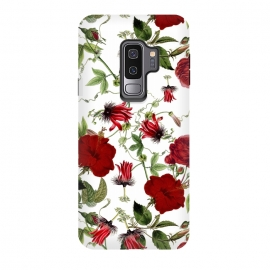 Galaxy S9 plus  Red Hibiscus and Passiflora Pattern on White by  ( blossom, spring, flower, pink, nature, season, floral, petal, beautiful, bloom, flora, blooming, natural, beauty, botany, summer, springtime, botanical, romantic, vintage, flowers, retro, pattern, girly, trendy, modern, fashion, utart, woman, women, feminine, girl, girls, chic, victorian, tropical,)