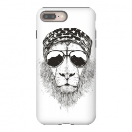 iPhone 8/7 plus  Wild lion (bw) by Balazs Solti (lion,animal,drawing,ink,sunglasses,summer)