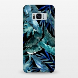 Tropical Mix Black by MUKTA LATA BARUA (tropical, foliage, leaf, leaves,nature,banana leaf,palm leaves)