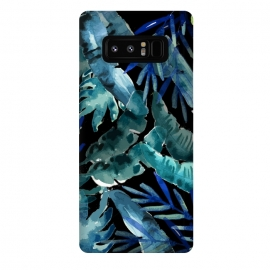 Galaxy Note 8  Tropical Mix Black by  (tropical, foliage, leaf, leaves,nature,banana leaf,palm leaves)