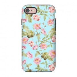iPhone 8/7  Pastel Teal and Pink Roses Pattern by Utart