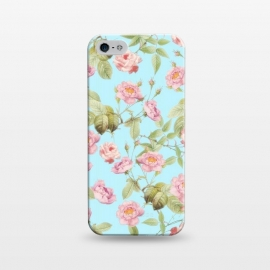 iPhone 5/5E/5s  Pastel Teal and Pink Roses Pattern by Utart