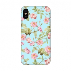iPhone X  Pastel Teal and Pink Roses Pattern by Utart