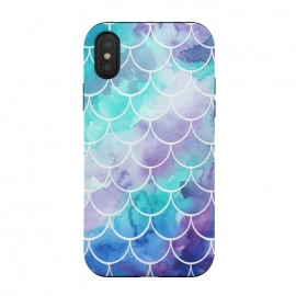 iPhone Xs / X  Pastel Clouds Mermaids Tail by Becky Starsmore (mermaid,scales,tail,fin,ocean,sea,mermaids,pastel,watercolor,watercolour,fish,scale,pattern,print,design)