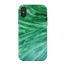 iPhone Xs / X  Emerald Green Marble by Becky Starsmore (marble,marbled,marbling,crystal,agate,slice,healing,emerald,stone,abstract,green,calm,calming,boho,bohemian,hippie,hippy,sea,ocean,water,waves,gem,ink)