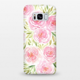 Galaxy S8+  Pastel Pink Peony Floral Print by Becky Starsmore