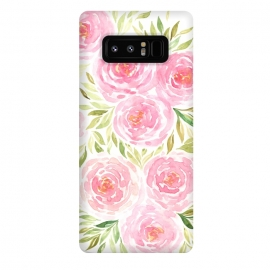 Galaxy Note 8  Pastel Pink Peony Floral Print by Becky Starsmore