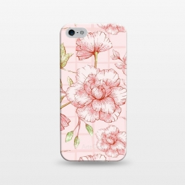 iPhone 5/5E/5s  Modern pink Grid and Flower Pattern by Utart