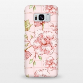 Galaxy S8+  Modern pink Grid and Flower Pattern by Utart