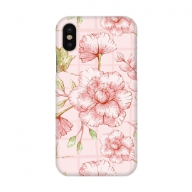 iPhone X  Modern pink Grid and Flower Pattern by Utart