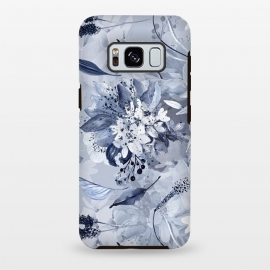 Galaxy S8+  Autumnal fresh gray and blue flower rose pattern by Utart