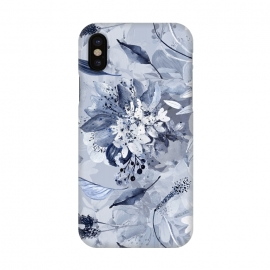 iPhone X  Autumnal fresh gray and blue flower rose pattern by Utart