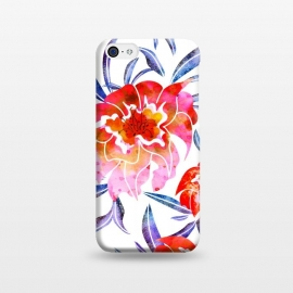 iPhone 5C  Surface of Love by Uma Prabhakar Gokhale (watercolor, pattern, floral, nature, flowers, blossom, love, bloom, tropical, exotic, flora, pink, red, summer, spring, blue)
