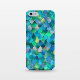 iPhone 5/5E/5s  Wonky Dark Ocean MEtal Mermaid Scales by Utart