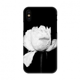 iPhone X  White Peony Black Background by Alemi