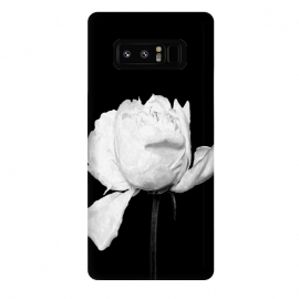 Galaxy Note 8  White Peony Black Background by Alemi