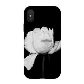 White Peony Black Background by Alemi