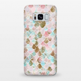 Galaxy S8+  Wonky Watercolor Pink and Blue Mermaid Scales  by Utart