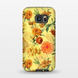Galaxy S7  Yellow vintage Flower Pattern by Utart ( blossom, spring, flower, pink, nature, season, floral, petal, beautiful, bloom, flora, blooming, natural, beauty, botany, summer, springtime, botanical, romantic, vintage, flowers, retro, pattern, girly, trendy, modern, fashion, utart, woman, women, feminine, girl, girls, chic, victorian,rose,roses)