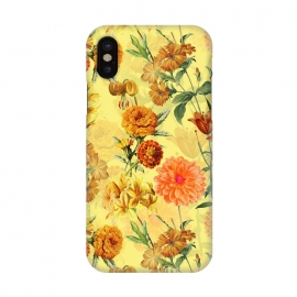 iPhone X  Yellow vintage Flower Pattern by Utart