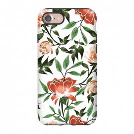 iPhone 8/7  Floral Feels by Uma Prabhakar Gokhale (graphic design, pattern, watercolor, floral, nature, botanical, summer, spring, exotic, blossom, bloom, flourish, green, blush, orange)
