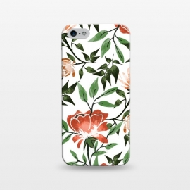 iPhone 5/5E/5s  Floral Feels by Uma Prabhakar Gokhale (graphic design, pattern, watercolor, floral, nature, botanical, summer, spring, exotic, blossom, bloom, flourish, green, blush, orange)